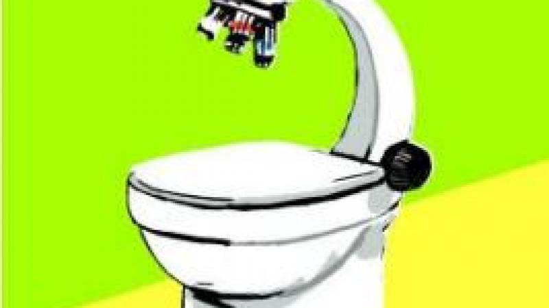 Illustration of toilet and microscope